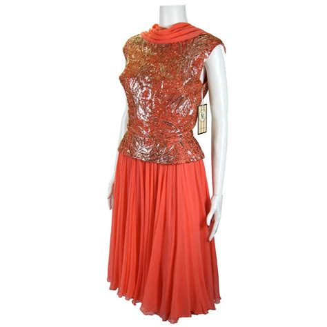 vintage beaded dresses for sale vintage salmon chiffon beaded draped mad dress