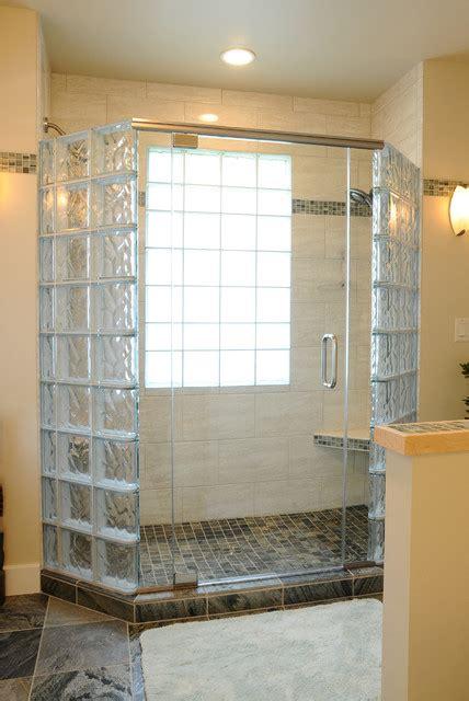 Glass Block Doors Glass Block Shower With Frameless Door In Middleton Wisconsin Transitional Bathroom
