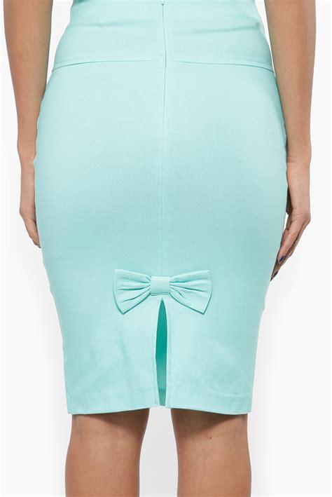 mint high waisted bow pencil skirt cicihot