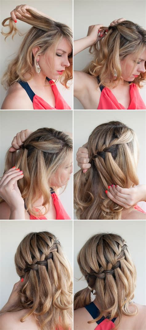 how to make hair buns from braids oh the lovely things diy waterfall braided bun by hair