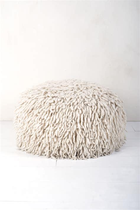 shaggy pouf ottoman wool shag pouf p008