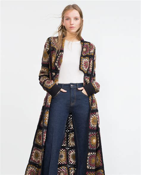 Patchwork Coat - zara patchwork crochet coat in brown lyst