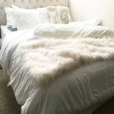white fur comforter all white bedding bedroom and bedding pinterest faux