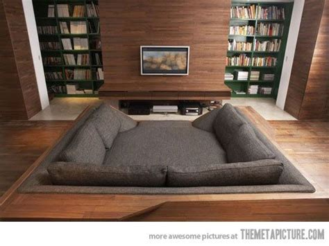 giant couch bed movie pit or sunken bed couch love it media theater