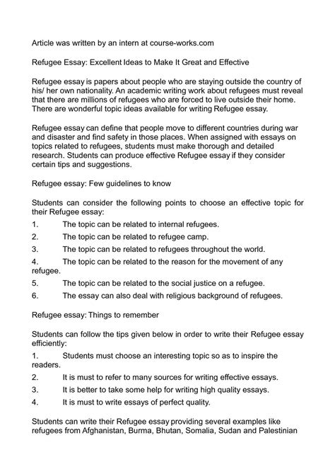 Refugee Essay by Calam 233 O Refugee Essay Excellent Ideas To Make It Great And Effective