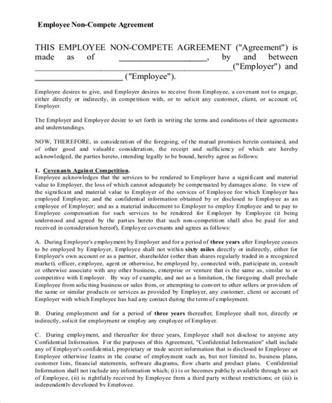 11 Employee Non Compete Agreement Templates Free Sle Exle Format Free Premium Insurance Non Compete Agreement Template