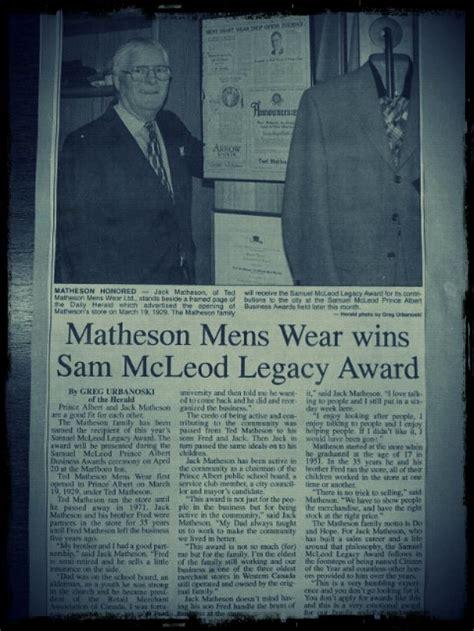 wins legacy matheson wins the sam mcleod legacy award