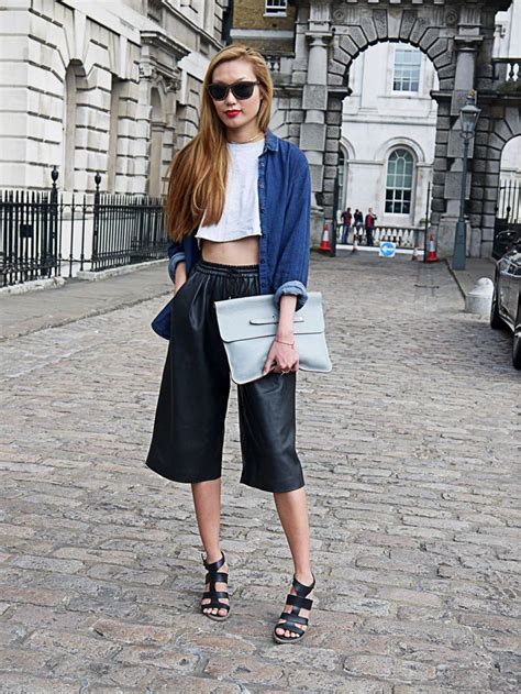 Cullote Wedges s navy denim shirt white cropped top black leather