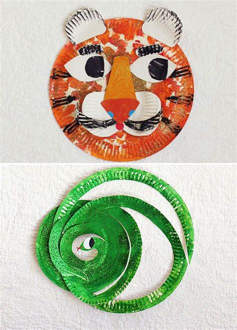paper plate mr tiger mr snake craft preschool crafts