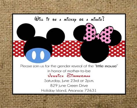 minnie  mickey mouse invitations