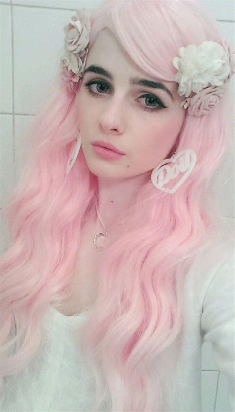 pastel pink hair darkblack eyebrows hair pinterest