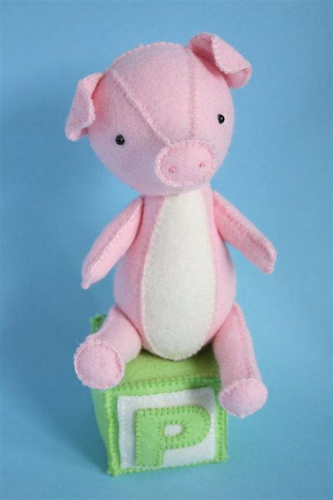pattern for felt pig p is for pig pdf pattern for hand sewn felt pig by