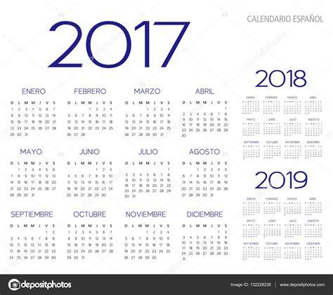 Calendario De 2017 E 2018 Vetor De Calend 225 2017 2018 2019 Espanhol Vetor De