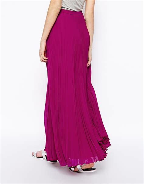 asos pleated maxi skirt in purple lyst