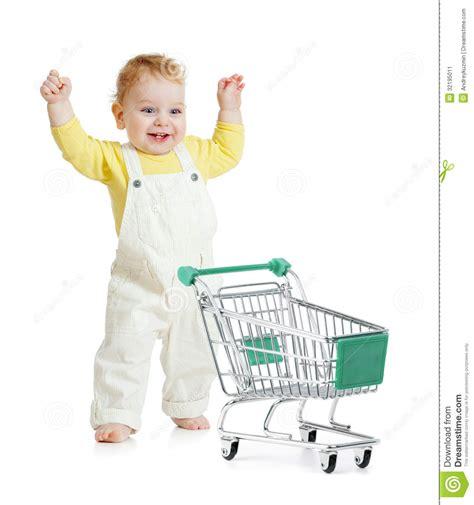 baby shopping happy baby walking with shopping cart stock image image
