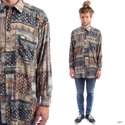 abstract print shirt mens 90s grunge ibiza vintage 1990s sleeve button baggy