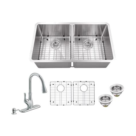 newage products stainless steel classic 32 in sink all in one undermount stainless steel 32 in 50 50 double