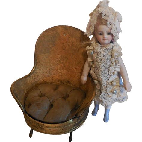 Small Stuffed Chairs Small Metal Plush Covered Chair From Marysantiquedolls On