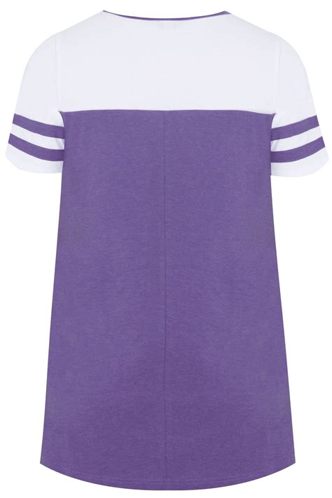 white purple jersey colour block top with sleeves