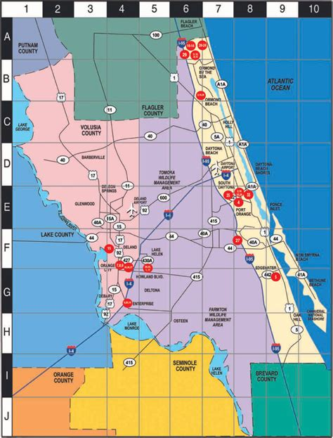 zip code map volusia county western florida county map volusia mappery
