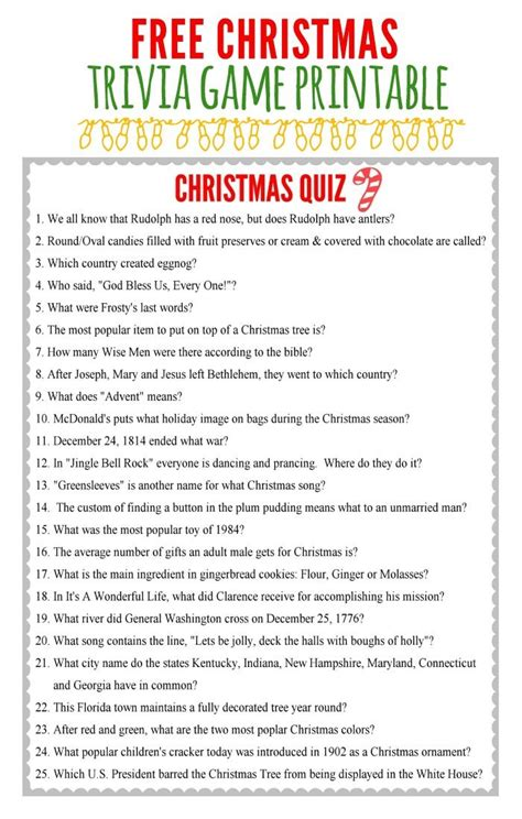 Printable Christmas Quiz Games | christmas charades game and free printable roundup