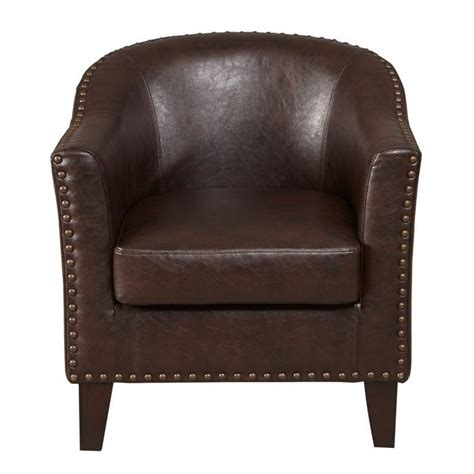 brown faux leather accent chair pemberly row faux leather accent chair in brown pr 527856