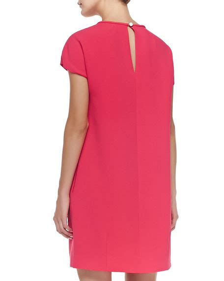 Aladin Pleats kate spade new york crepe cap sleeve pleated front dress pink