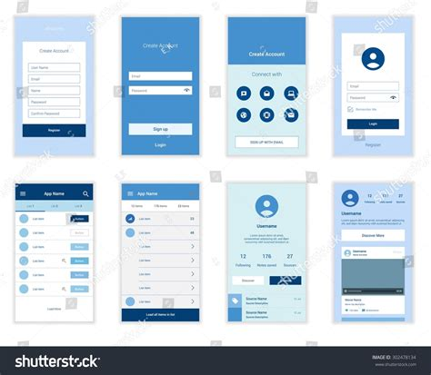 layout web mobile mobile screens user interface kit modern stock vector