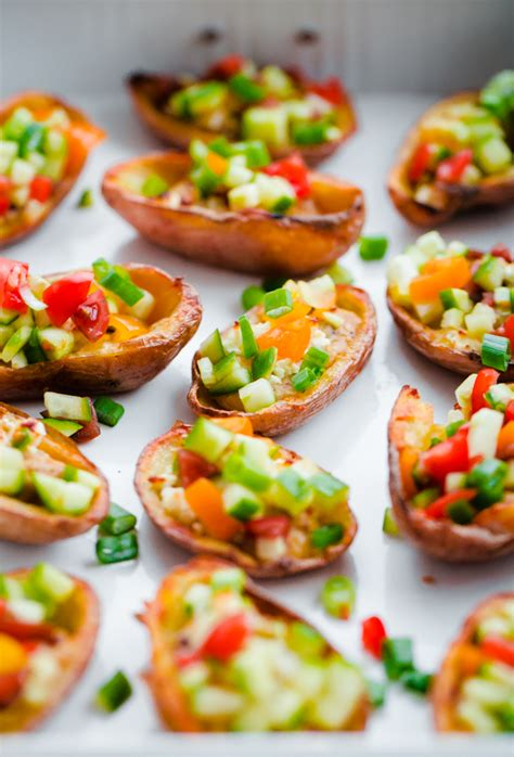 beautiful appetizers style potato skins with hummus a beautiful plate