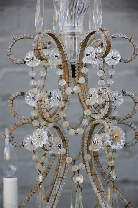 Bobeches For Chandeliers six light italian macaroni beaded chandelier with