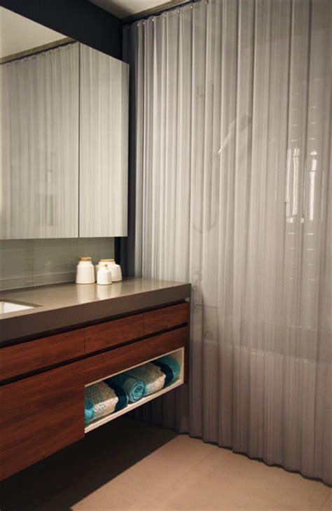 Modern Bathroom Curtains Bright Designlab Modern Bathroom With Metal Shower Curtain