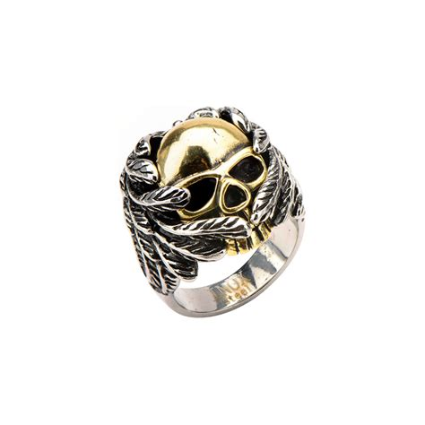 s gold skull wrapped in wings ring skull pirate