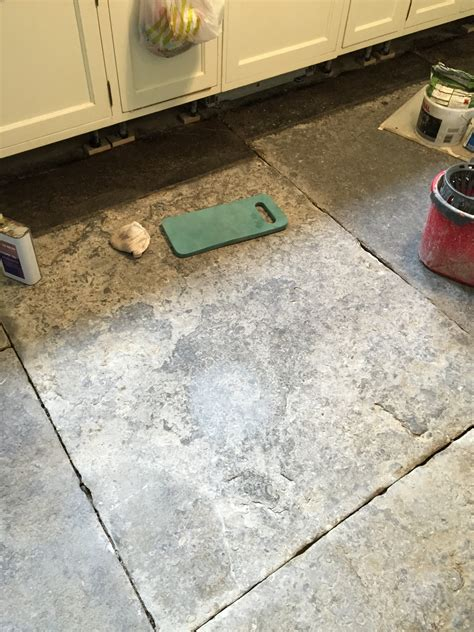 blue lias flagstone kitchen floor restored and sealed