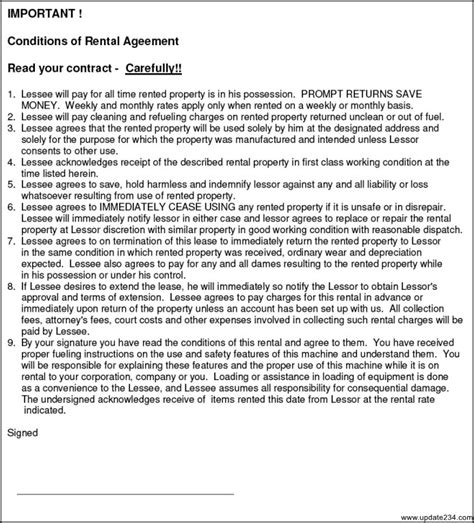 simple equipment rental agreement template free template