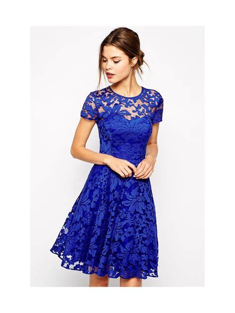43564 Blue Royal Lace S M L Dress Le230517 Import royal blue lace skater dress e22007 cilory