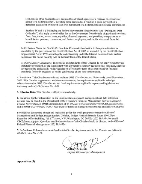 Budget Transmittal Letter Circular A 129 The White House