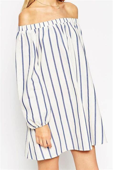 Kulot Stripe White stripes slash collar sleeve dress for the