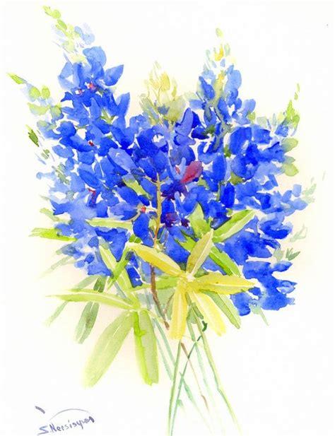 Kaos Splashy Water Colour 11 Tx bluebonnet painting 14 x 11 in blue flowers original watercolor artwork blue