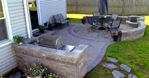 Small Fire Pit For Patios Paver Patio With Grill Surround And Fire Pit By Hoffman
