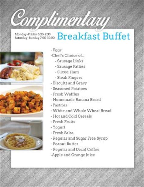 breakfast buffet menu complimentary full hot breakfast buffet menu picture