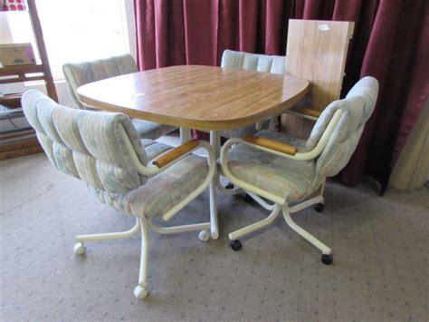 Kitchen Table With Rolling Chairs by Lot Detail Kitchen Table With 4 Rolling Chairs