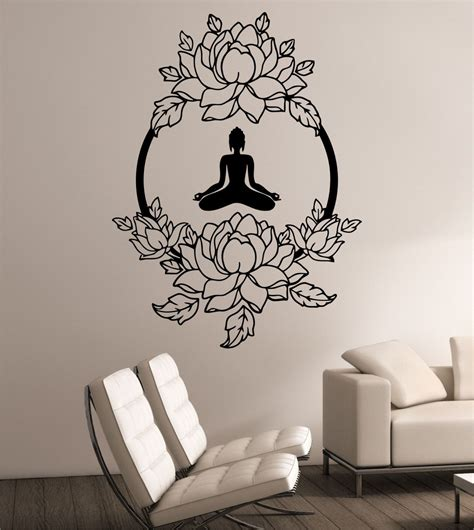 bedroom wall art stickers lotus wall decal meditation sticker art decor bedroom