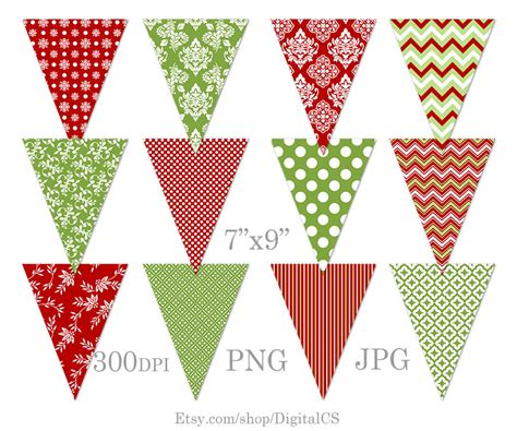 printable christmas tree garland diy christmas garland printable christmas bunting clipart