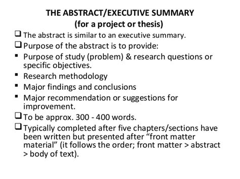 thesis abstract or summary research methods lesson 2