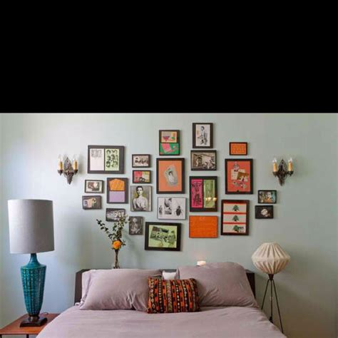 i like the picture collage above the bed pottery barn picture frames above bed decorating ideas pinterest