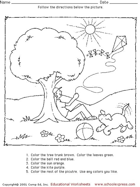 directions activity worksheet following directions coloring activity coloring pages