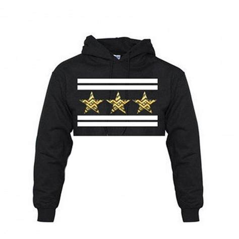 3 star crop top hoodie from thug ave