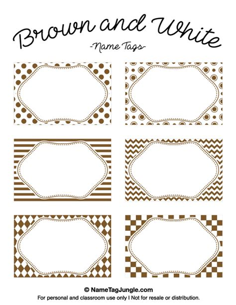 brown and white names printable brown and white name tags