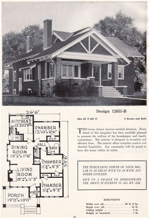 Craftsman Style Bungalow Floor Plans by Vintage Craftsman Bungalow Plans Craftsman Style