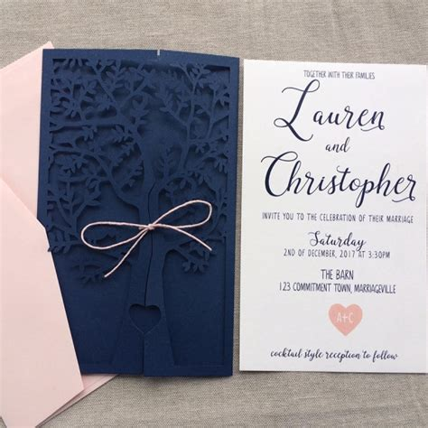 Blue Wedding Invitation Paper by Navy Blue Fresh Tree Laser Cut Wedding Invitation Wlc013